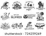 set of halloween party concept. ... | Shutterstock . vector #724259269