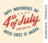 4th of july design in retro... | Shutterstock . vector #724261111