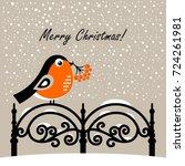 christmas card with bullfinch... | Shutterstock .eps vector #724261981