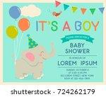 cute cartoon elephant and bird... | Shutterstock .eps vector #724262179