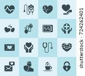 simple 16 set of heart filled... | Shutterstock .eps vector #724262401