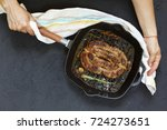 homemade grilled sausage served ... | Shutterstock . vector #724273651