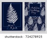 two cards decorated with fern... | Shutterstock .eps vector #724278925