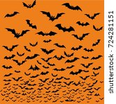 bats silhouettes for halloween. | Shutterstock .eps vector #724281151