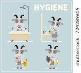 Set Of Funny Goat Is Hygiene ...