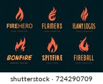 set of logo designs with fire... | Shutterstock .eps vector #724290709