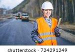 female worker road construction | Shutterstock . vector #724291249