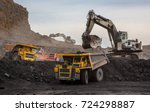 loading of coal into truck.... | Shutterstock . vector #724298887