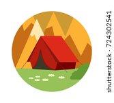 tourist tent.   Shutterstock . vector #724302541