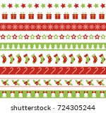 christmas seamless borders.... | Shutterstock . vector #724305244