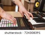 producer makes a music on midi... | Shutterstock . vector #724308391