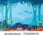 vector coral reef  school of... | Shutterstock .eps vector #724309474