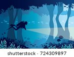 silhouette of scuba diver with... | Shutterstock .eps vector #724309897