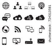 internet icons. black flat... | Shutterstock .eps vector #724313581