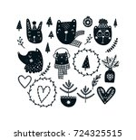 christmas clipart set with cute ... | Shutterstock .eps vector #724325515