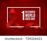 realistic red ribbon  world... | Shutterstock .eps vector #724326421