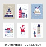 collection of 6 christmas card... | Shutterstock .eps vector #724327807