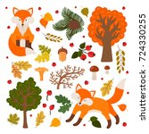 cute foxes in the forest.... | Shutterstock .eps vector #724330255