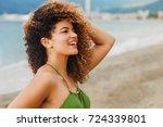 gorgeous woman portrait smiling ... | Shutterstock . vector #724339801