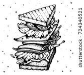 tasty multilevel sandwich with... | Shutterstock .eps vector #724340521