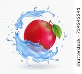 red apple realistic fruit in... | Shutterstock .eps vector #724343341
