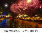 mid autumn festival fireworks... | Shutterstock . vector #724348114