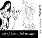 set of illustrated beautiful... | Shutterstock . vector #72434992