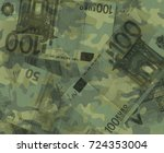 Small photo of Euro banknotes are covered by khaki camouflage pattern. Metaphor of budget and funds of army and military / money spent as investment into armament and militarization