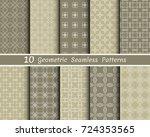set of 10 seamless geometric... | Shutterstock .eps vector #724353565