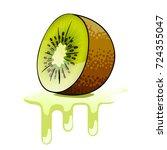 fresh kiwi and juicy splashes | Shutterstock .eps vector #724355047