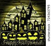 happy halloween card with... | Shutterstock .eps vector #724363795