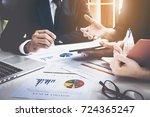 business team hands at working... | Shutterstock . vector #724365247