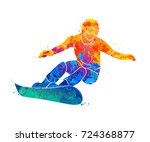 snowboarder jumping sport | Shutterstock .eps vector #724368877