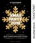 christmas party poster design.... | Shutterstock .eps vector #724372987