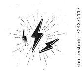 3d vintage lightnings sign with ... | Shutterstock .eps vector #724375117