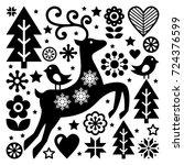 christmas black and white folk... | Shutterstock .eps vector #724376599