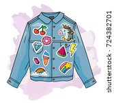 cool trendy jeans jacket with... | Shutterstock .eps vector #724382701