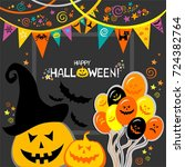 happy halloween. celebration... | Shutterstock . vector #724382764