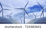 new energy  solar and wind... | Shutterstock . vector #724383601