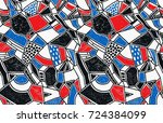 memphis seamless pattern in... | Shutterstock .eps vector #724384099