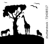 silhouette of wild animals of... | Shutterstock .eps vector #72438517
