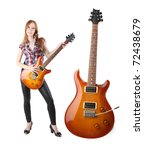 Cute girl with electric guitar isolated - stock photo