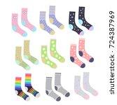 funny cute socks set  isolated... | Shutterstock .eps vector #724387969