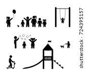 children playing  playground ... | Shutterstock .eps vector #724395157