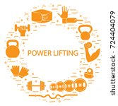 weightlifting icons set... | Shutterstock .eps vector #724404079