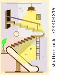 flat design poster with stairs... | Shutterstock .eps vector #724404319