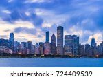 chicago skyline at sunset with... | Shutterstock . vector #724409539
