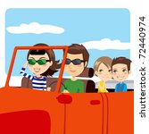 family on a convertible car... | Shutterstock . vector #72440974