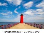 milwaukee lighthouse on sunny... | Shutterstock . vector #724413199