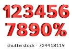 3d red discount numbers vector. ... | Shutterstock .eps vector #724418119